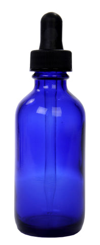 Cobalt Blue Glass Bottle w/dropper 2-oz ea