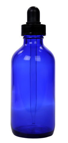 Cobalt Blue Glass Bottles w/dropper 4-oz: 12ct