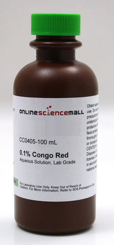 Congo Red 0.1% Aqueous Solution, 100mL - Lab Grade Chemical Reagent