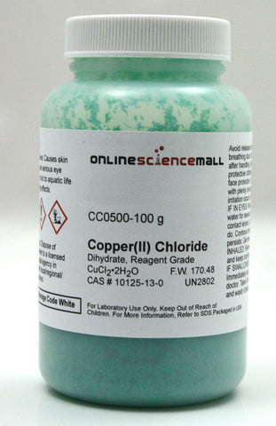Copper II (Cupric) Chloride Crystals, Dihydrate, 100g - Reagent Grade Chemical Reagent