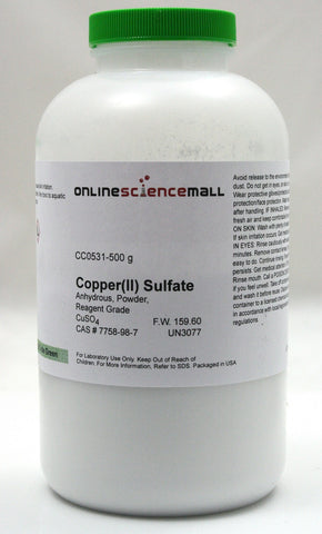 Copper II (Cupric) Sulfate Powder, Anhydrous, 500g - Reagent Grade Chemical Reagent