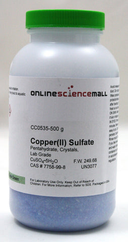 Copper II (Cupric) Sulfate Crystals, Pentahydrate, 500g - Lab Grade Chemical Reagent