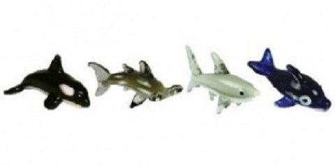 Looking Glass Torch - Ocean Figurines - Orca, HammerHead, Shark & Dolphin  (4-Pack)