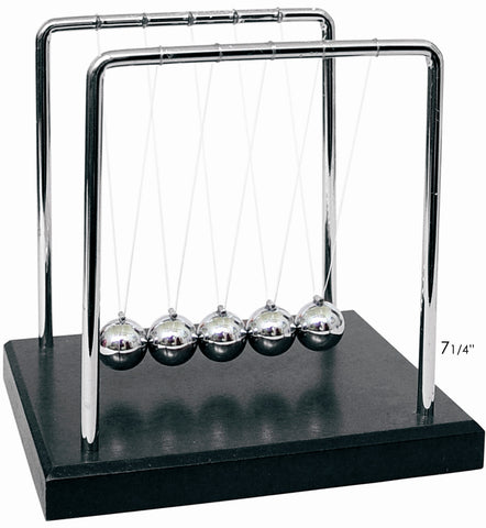 Classic 7.25 Inch Tall Newtons Cradle Great Desk Top Toy Black Base