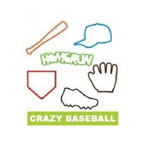 Crazy Baseball (or Softball) GLOW IN THE DARK Rubber Bands 24pk
