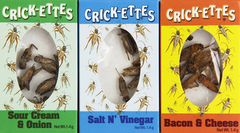 Hotlix Crickettes Real Cricket Insect Bug Pk of 3 - Sour Cream & Onion, Salt N' Vinegar, Bacon & Cheese
