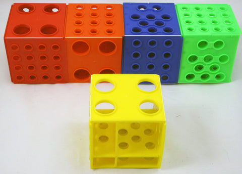 Plastic Cube Test Tube Rack - Four Sizes of Holes - Set of 5