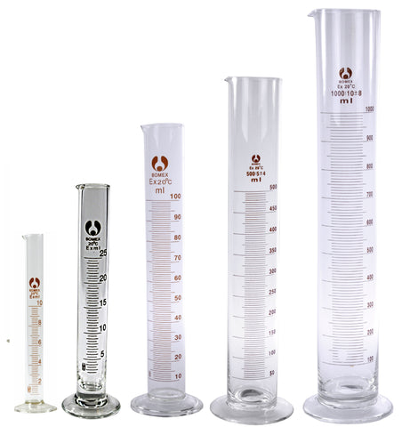5 Glass Graduated Cylinders 10 25 100 500 1000mL