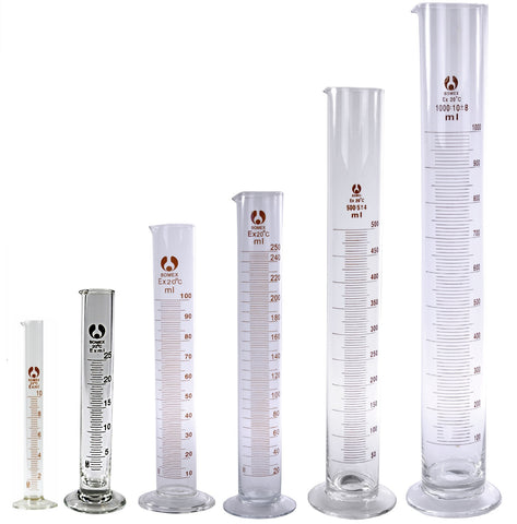 6 Glass Graduated Cylinders 10 25 100 250 500 1000mL