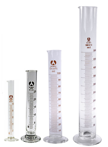 4 Bomex Glass Graduated Cylinders 10 25 100 500 mL