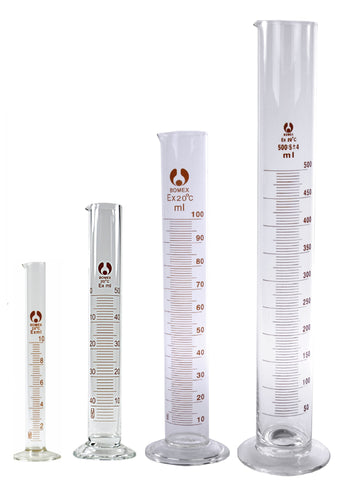 4 Bomex Glass Graduated Cylinders 10 50 100 500 mL