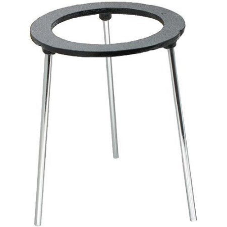 6 Inch Tall Cast Iron Tripod Ring Support Stand w/Gray Enamel Finish