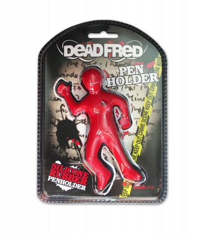Dead Fred Desktop Pen Holder - Red Silicone Body Shaped Pen Holder