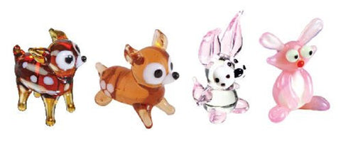 Looking Glass Torch Figurines - Deer, Fawn & 2 Different Rabbits (4-Pack)