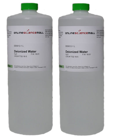Deionized Water, 2 Liters - Two 1000mL Bottles of Purified Water