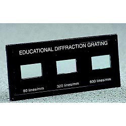 Educational Demonstration Slide With Three Diffraction Gratings