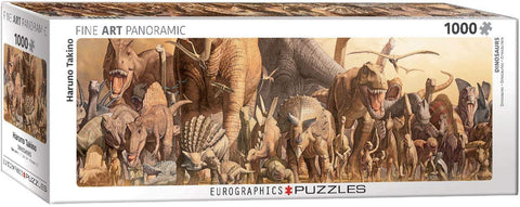 "Dinosaurs by Haruno Takino Panoramic 1,000 Piece Puzzle 13"" x 39"""
