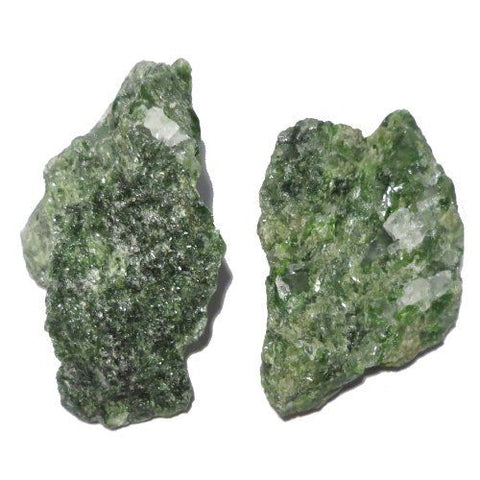 Green Diopside Rough Mineral Rock Specimens 1 - 1.5 Inch - Pack of 2 w Info Cards