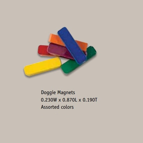 Painted Ceramic Doggie Bar Shaped Magnets - Pack of 12 Assorted Colors