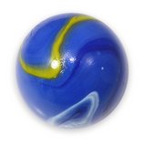 "Massive 1-5/8 Inch Glass ""Blue Dolphin"" Mega Marble (42mm Mammoth) with Stand - Color Varies"