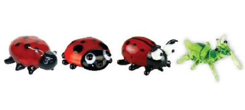 Looking Glass Torch - Figurines - 3 Different Ladybugs & a Grasshopper (4-Pack)