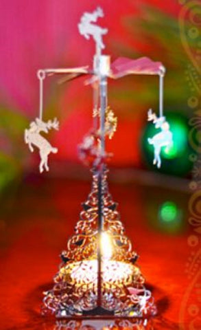 Rotating Tea Light Silver Dove Tree w Hanging Reindeer
