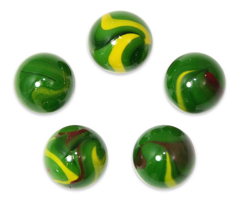 "1"" Dragon Mega Marble 25mm Shooters - Pack of 5 w/Stands"