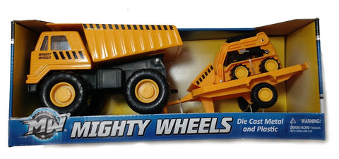 "Mighty Wheels  7"" Dump Truck & Bobcat Trailer Vehicle"