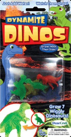 Pack of 7 Multi Colored Growing Dynamite Dinos
