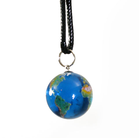 7/8 Inch Earth Marble Necklace - 22mm Blue Recycled Glass Earth Orb w Black Waxed Cotton Cord