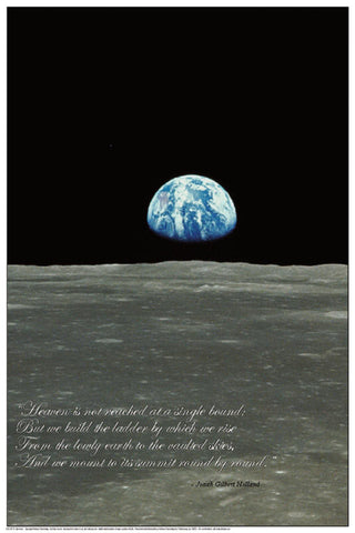 Laminated Earthrise Space Poster 24x36