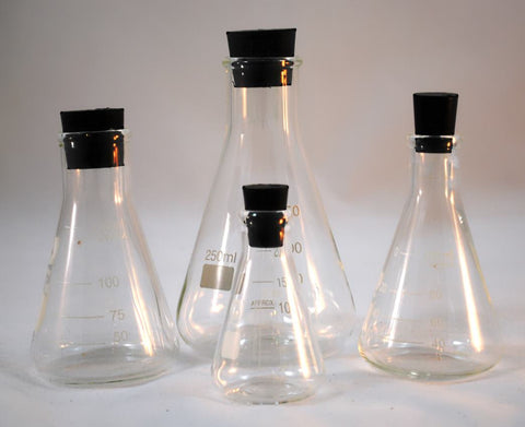 4 Glass  Erlenmeyer Flasks  w/ Stoppers: 50, 100, 125, 250mL set