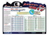 American Eclipse Wall Map 23 x 17.5 Inches & 1 Pair CE Certified Viewer Glasses