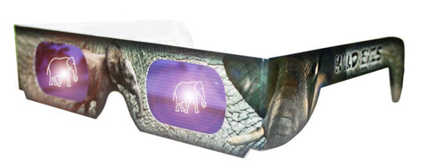 Holographic Elephant Wild Eyes 3D Paper Glasses