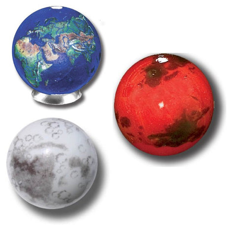 Earth, Mars & Moon Set of 3 Marbles w Bag & Stands