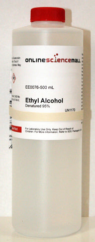 Ethyl Alcohol (Ethanol) 95% Denatured, Four 3.8 Liter (1 Gallon) Bottles - Chemical Reagent