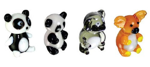 Looking Glass Torch Miniature Figurines - Set of 4 Bear Sculptures - Panda/Koala