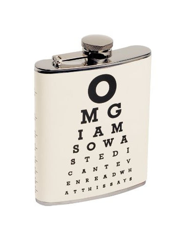 Eye Chart Drinking Flask - Hold 7 Oz with Hinged Cap
