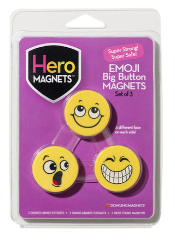 Hero Magnets Emoji Big Button Magnets  - Set of 3 with Assorted Faces