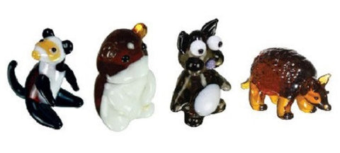 Looking Glass Torch Figurines - Ferret, Hamster, Chinchilla, Armadillo (4-Pack)