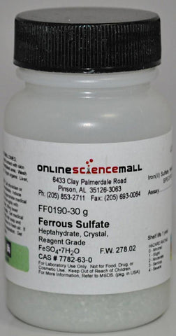 Iron II (Ferrous) Sulfate, Heptahydrate, 30g - Chemical Reagent