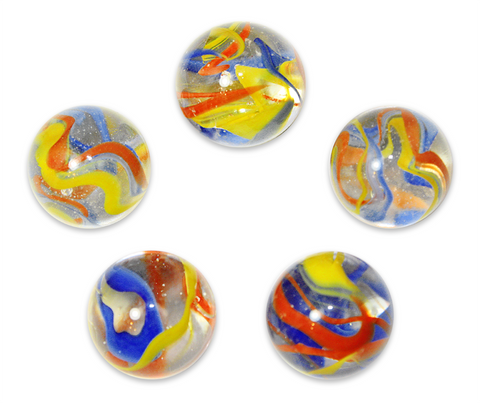 "1"" Fiesta Mega Marble 25mm Shooters - Pack of 5 w/Stands"