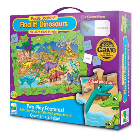 Puzzle Doubles Find It Dinosaurs- 50 Pc Floor Puzzle & Game Activity