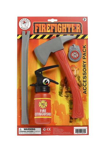 Firefighter Accessory Pack 4 Piece - Fireman Ax, Fire Extinguisher, Pry Bar & Badge