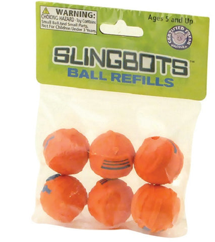 Slingbots Ball Refills - Qty 6 - Refills for Robot Shaped Toy Slingshot