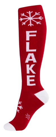 Snowflake Socks - Red and White Unisex Knee High Socks