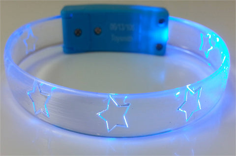 FlashBanz Designz Light Up Bracelet - Blue with Stars