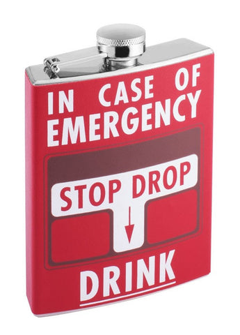 7oz Stainless Steel Liquor Hip Flask - Fire Alarm: In Case of Emergency