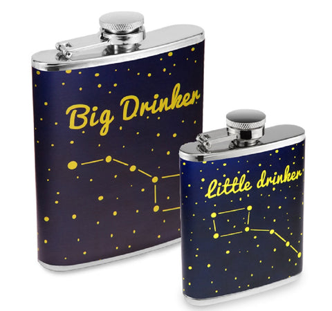 Stainless Steel Liquor Hip Flask Set - The Dippers - Glows In The Dark
