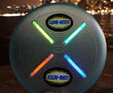 Flite by Nite Yellow Lumi-Niter Glow in the Dark Light Up Flying Disc w GlowSticks